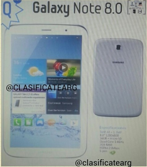 Samsung Galaxy Note 8.0 Leaked Image