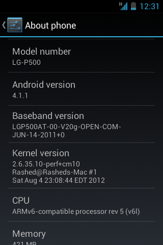 CM10 Jelly Bean ROM on LG Optimus One P500