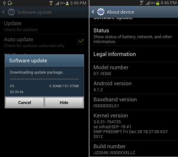 Samsung Galaxy SIII Update Image