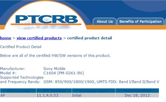 Sony Xperia E Dual Hits PTCRB